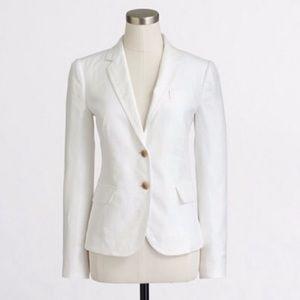 J. Crew White Linen Schoolboy Blazer Sz 12